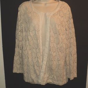 Chico's Size 3 XL Open Front Jacket Cream Lace